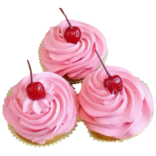 Капкейки с розовым кремом и вишенкой