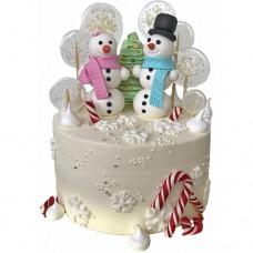 Детский новогодний торт со снеговиками