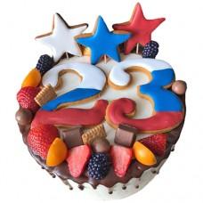 Торт на 23 февраля с пряниками и ягодами