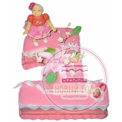Торт на 1 год для девочки с лилиями