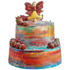 Торт с пряником в виде колокольчика