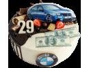 Торт для мужчины с автомобилем БМВ, деньгами и ягодами