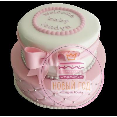 Торт с розовым бантом и бусинками