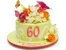 Торт на 60 лет с цветами и бабочками