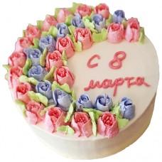 Торт на 8 марта с тюльпанами