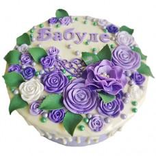 Торт с цветами для бабушки