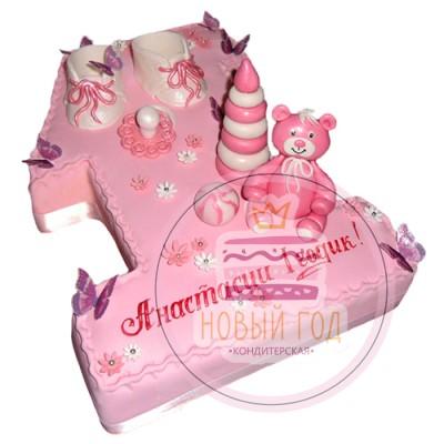 Розовый торт на 1 год в виде цифры