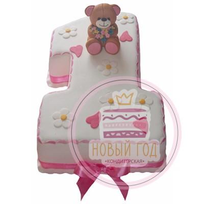 Торт «Цифра 1 с медвежонком»