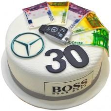 Торт на 30 лет для мужчины с евро и значком Мерседес