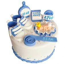 Бело-голубой торт на рождение мальчика