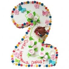 Торт на 2 года для девочки с медвежоком