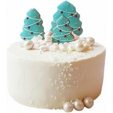 Торт с елочками на пряниках