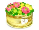 Торт на юбилей с кремовыми пионами