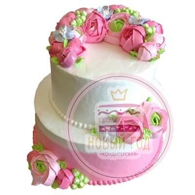 Свадебный торт с кремовыми пионами