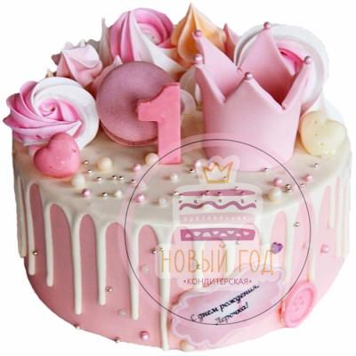 Торт на год девочке с короной