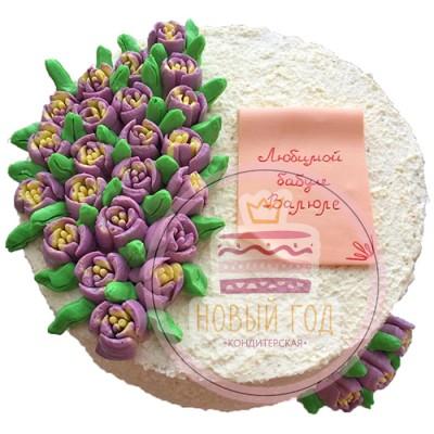 Торт для бабушки с кремовыми тюльпанами