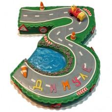 Торт в виде цифры 3 «Дорожные работы»