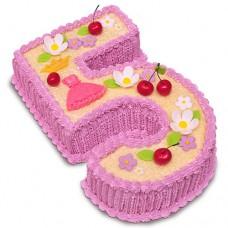Торт в виде цифры 5 для девочки