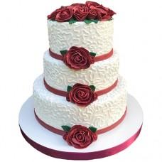 Свадебный торт «Бархатные розы»