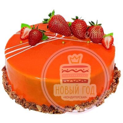 Красный, зеркальный торт с клубникой