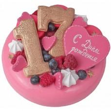 Зеркальный торт на 17-летие с малиной и голубикой
