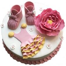 Торт с пионом на рождение девочки