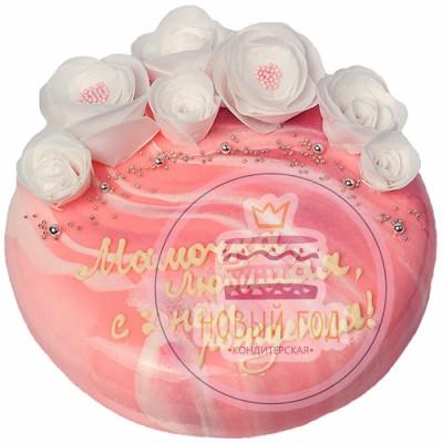 Зеркальный торт с белыми розами для мамы