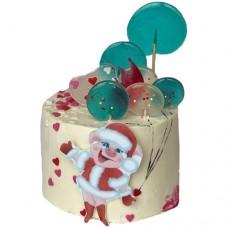 Торт со свиньей в костюме Снегурочки