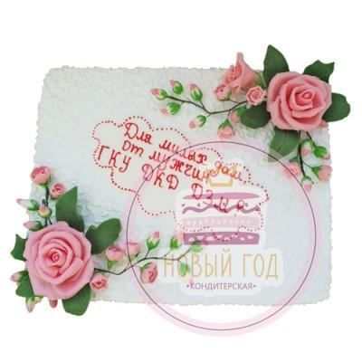 Корпоративный торт «Розы на снегу»