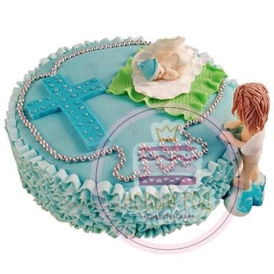 Торт с ангелом на крестины для мальчика