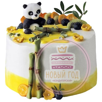 Торт с пандой и бамбуком