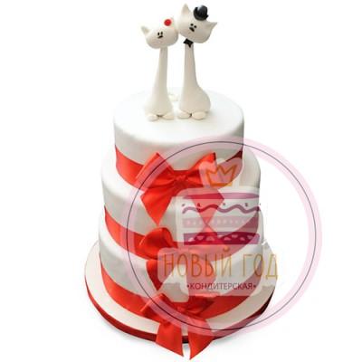 Свадебный торт с фигурками котов