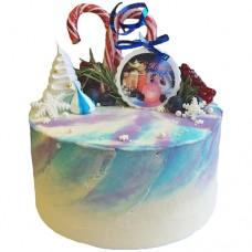 Новогодний торт с карамельной тростью и гранатом