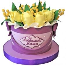 Торт для мамы с желтыми мимозами и тюльпанами