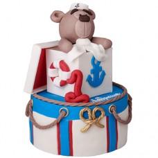 Торт в морском стиле на 1 год с медвежонком