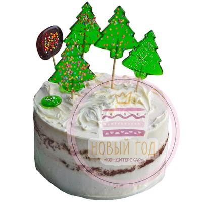 Кремовый торт с елками