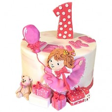 Торт с девочкой и подарками на 1 год