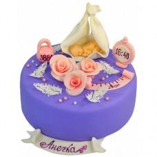 Торт на годик с малышом и метрикой