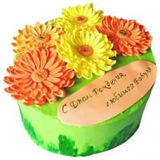 Торт с герберами на день рождения