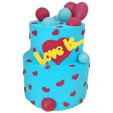 Двухъярусный торт с сердцами «Love is...»