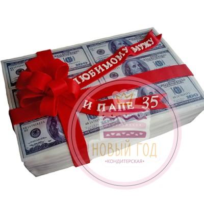 Торт в виде пачки денег