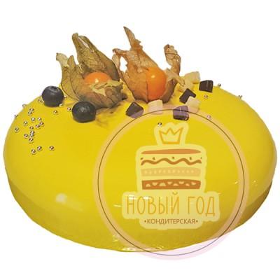 Желтый зеркальный торт на праздник