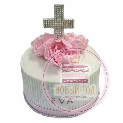 Торт на крестины для девочки с пионами