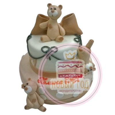 Торт двухъярусный с медвежатами