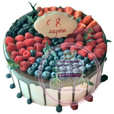 Торт на 8 марта с ягодами