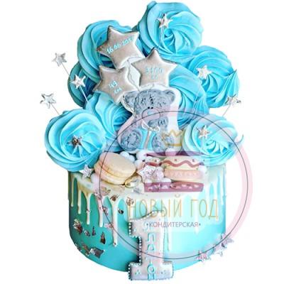 Торт со звездами и медвежонком на 1 год