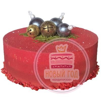Красный, велюровый торт с елочными шарами