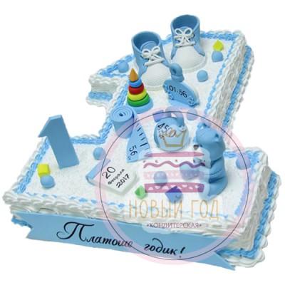 Торт в виде цифры один с датой рождения, ростом и весом