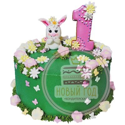 Кремовый торт на 1 год с зайчиком
