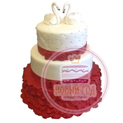 Красный свадебный торт с лебедями